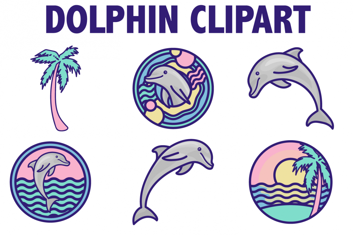 Beach Dolphin Icons example image 1