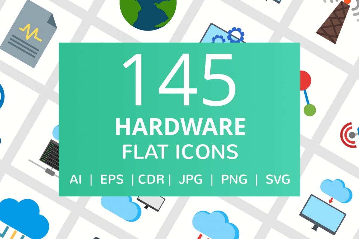 145 Hardware Flat Icons example image 1
