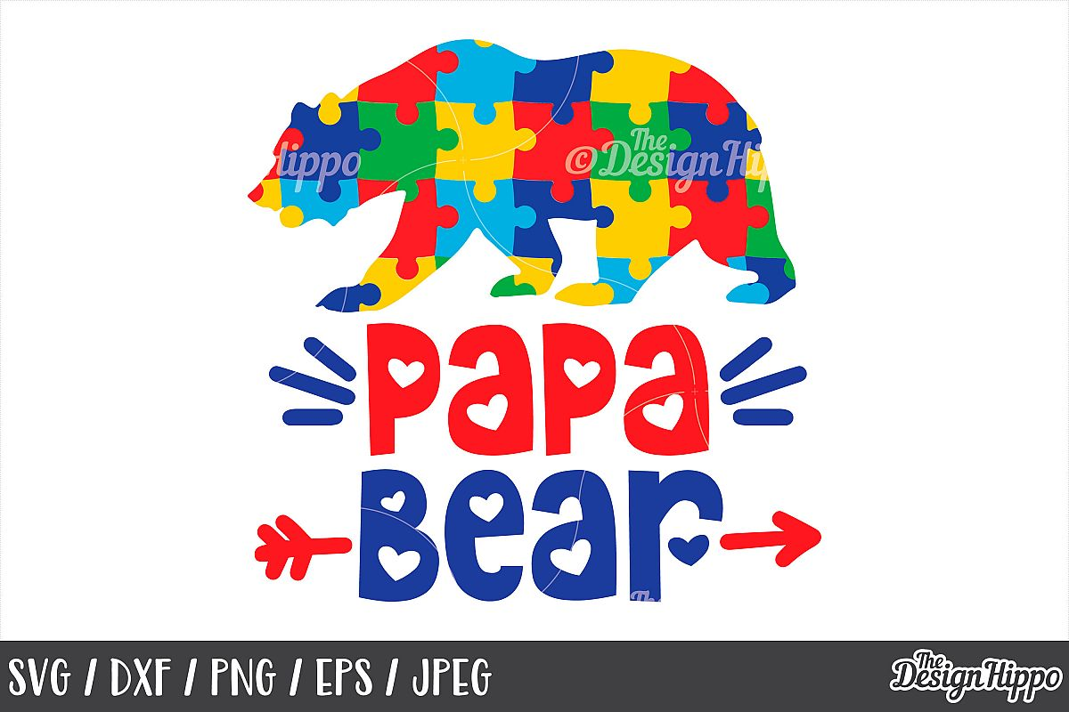 d47a03bc Autism Awareness, Papa Bear SVG, Puzzle Pieces, DXF PNG JPEG example image 1