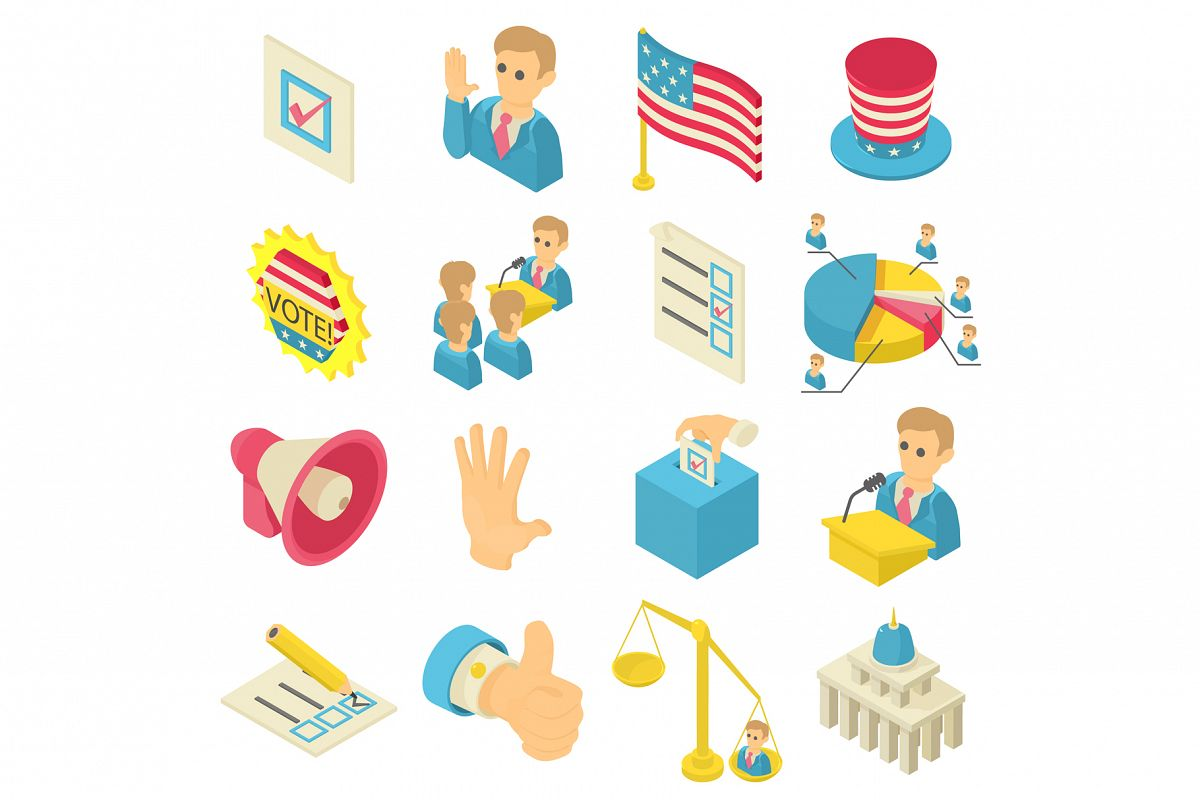 Election voting icons set, isometric style example image 1