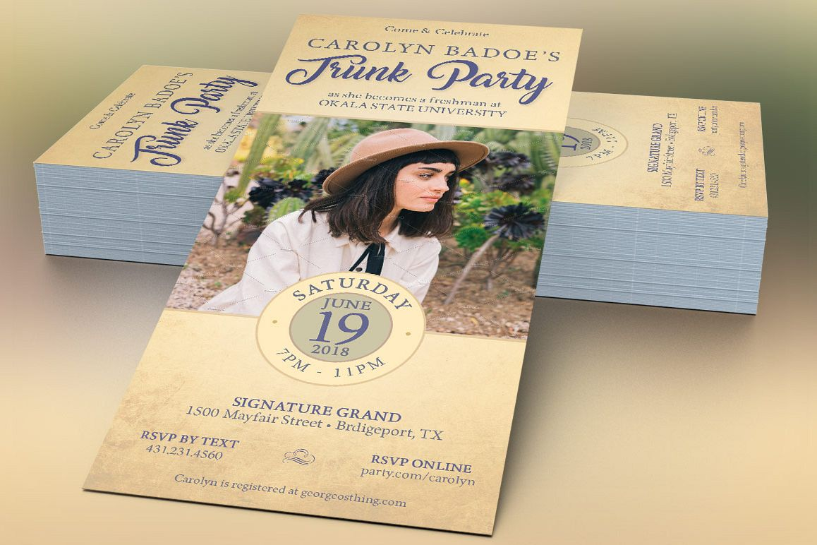 Retro Trunk Party Flyer Template example image 1