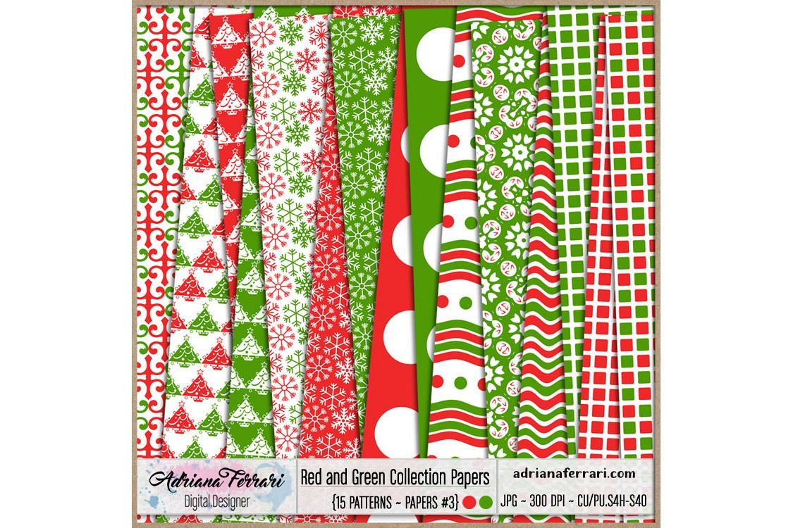 Red and Green Collection Papers 3 example image 1