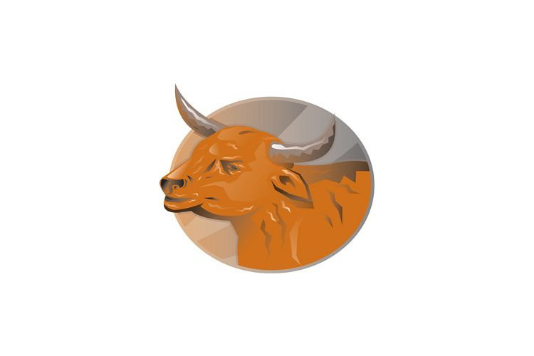 angry bull head retro example image 1