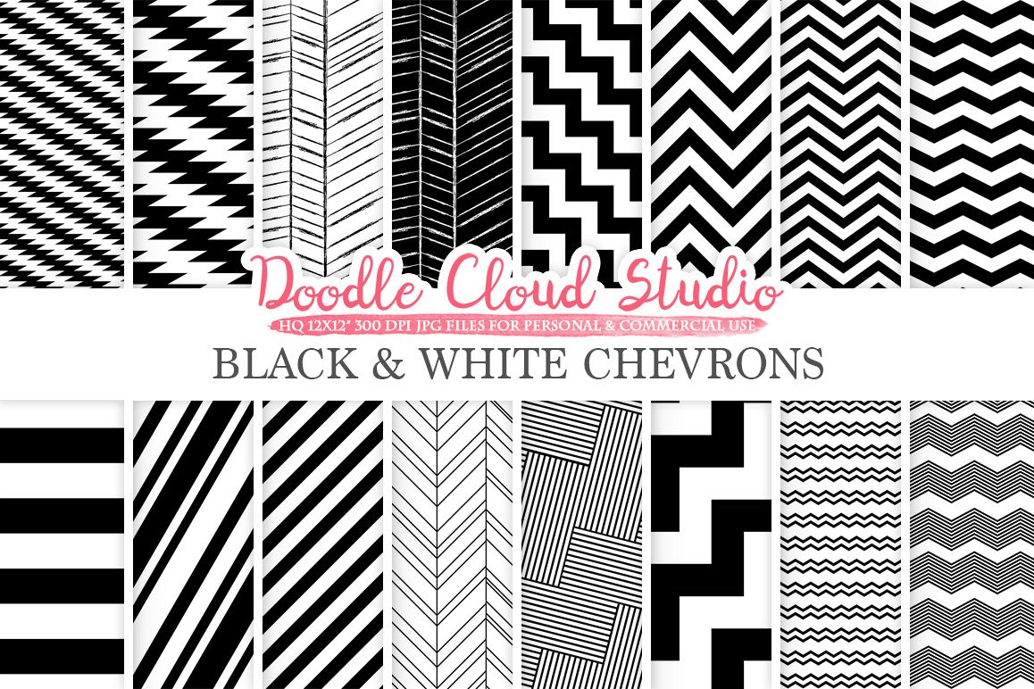 Black and White Chevron digital paper, Chevron and Stripes  pattern, Zig Zag lines background for Personal & Commercial Use example image 1