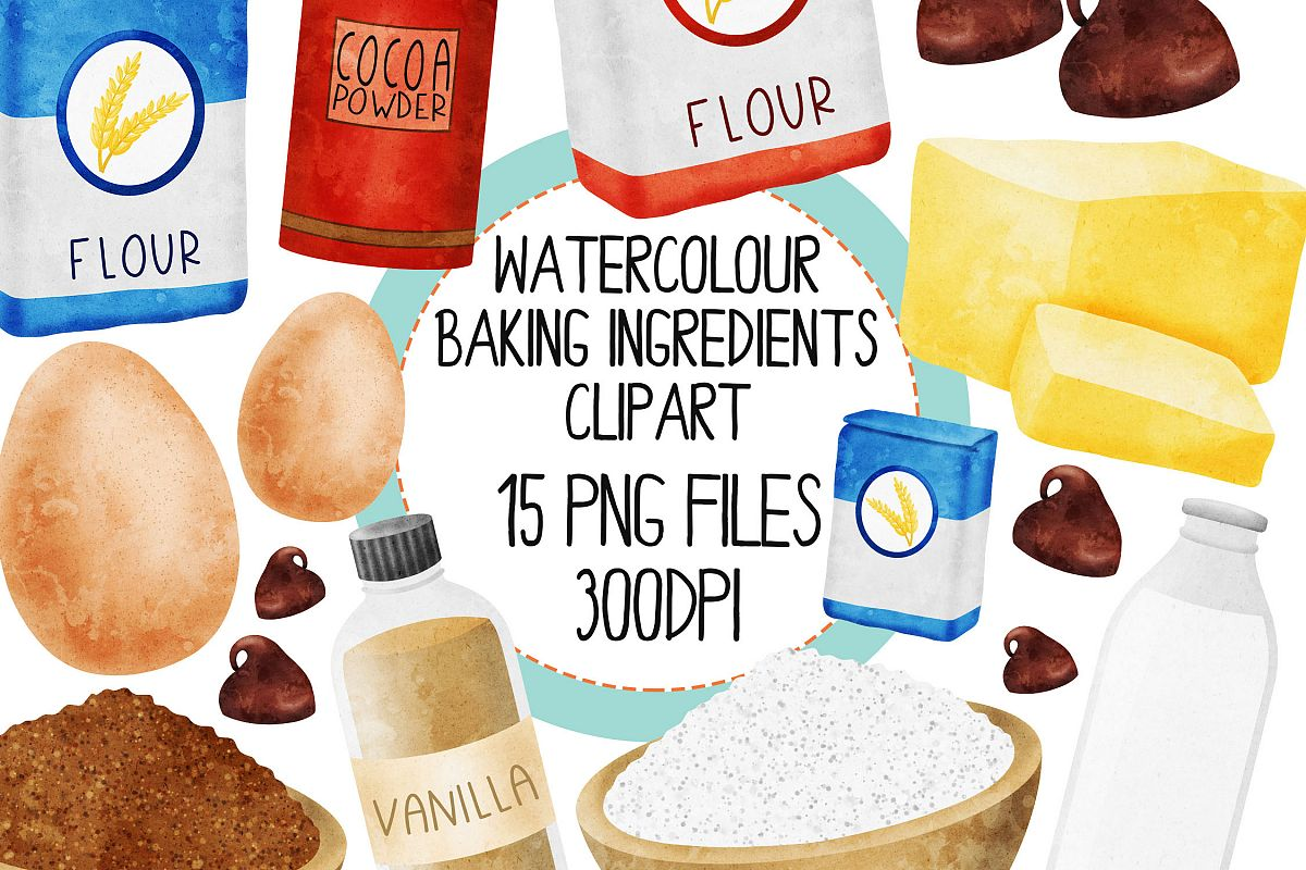 Watercolor Baking Ingredients Clip Art Set example image 1