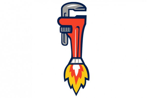 Pipe Wrench Rocket Booster Side Retro example image 1