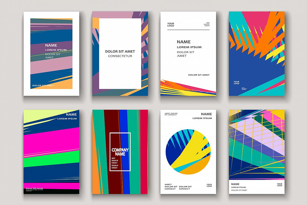 Modern colorful cover design. Abstract retro texture striped example image 1