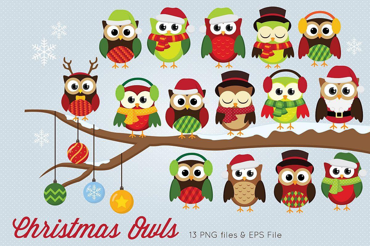 Christmas Owl.Christmas Owls Clipart