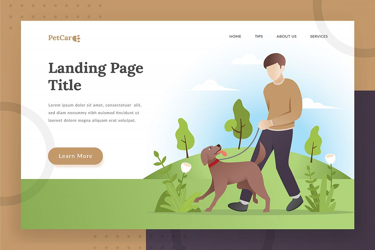 Pet care landing - page illustration example image 1
