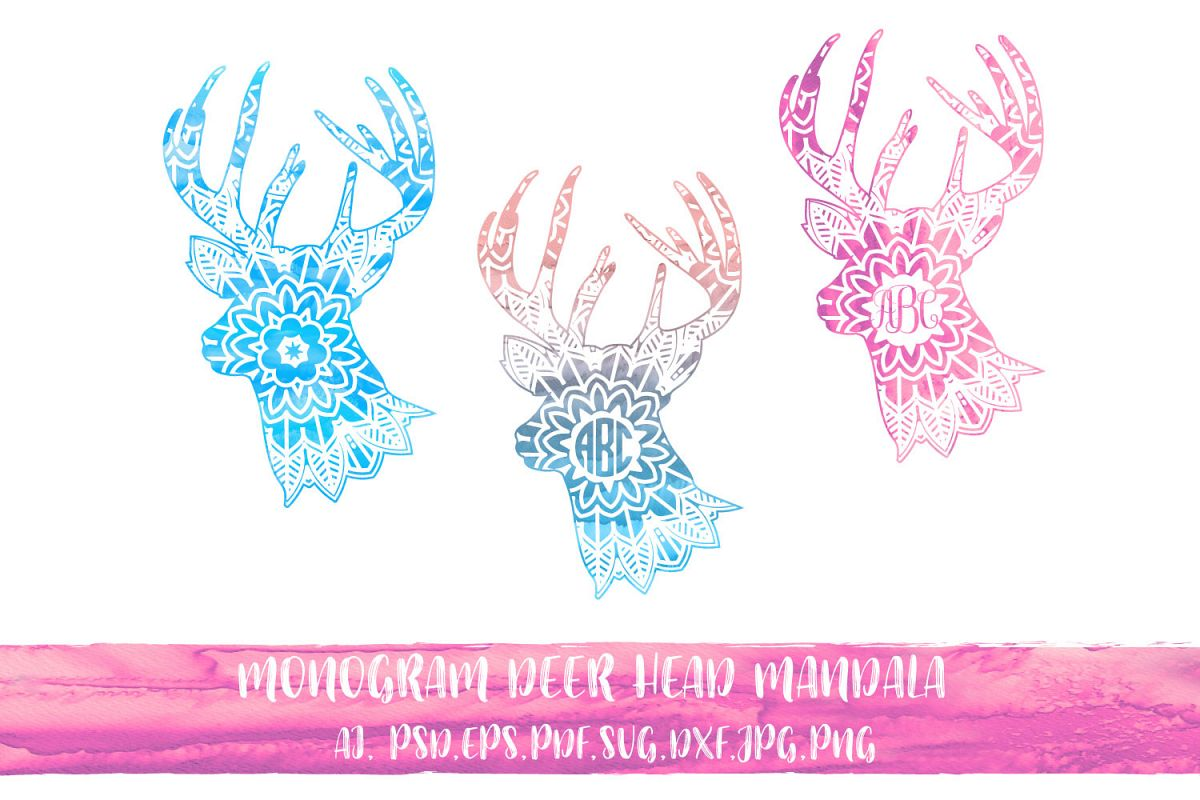 Monogram Deer Head Mandala with watercolor example image 1