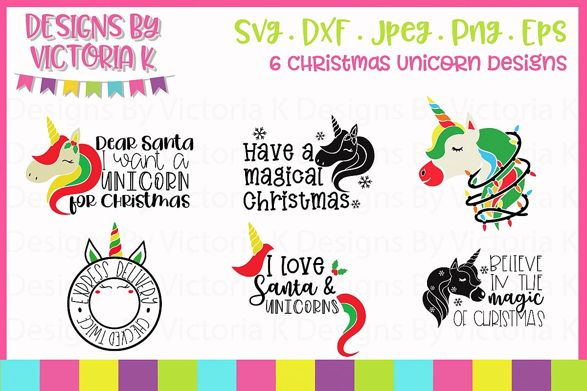 Christmas unicorn design bundle SVG, DXF example image 1