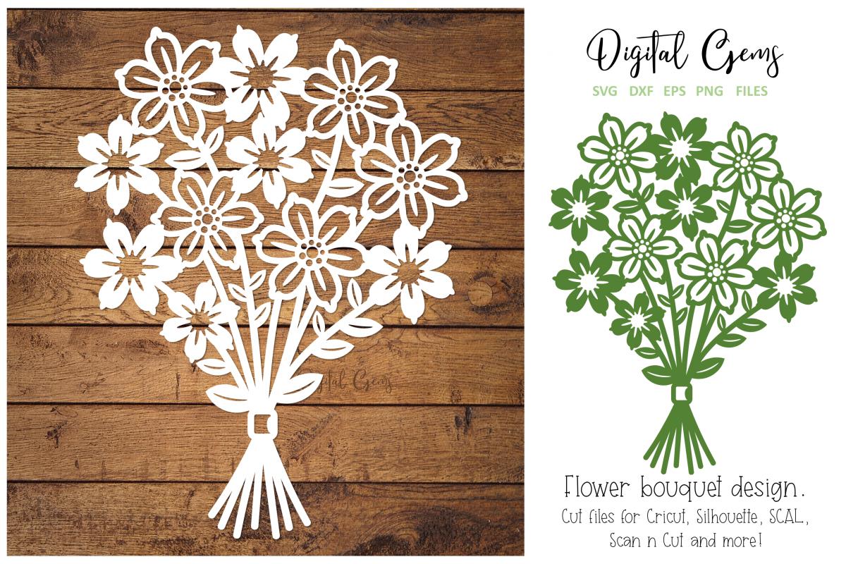 Flower Bouquet Paper Cut Design Svg Dxf Eps Png File