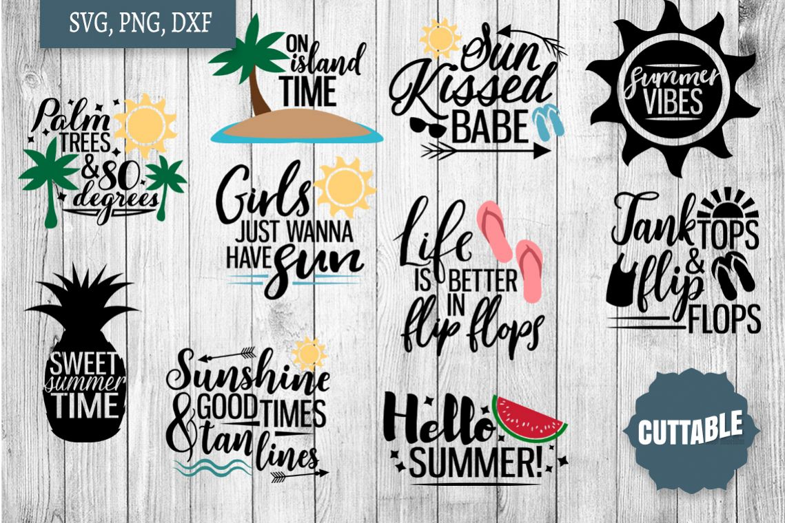 Summer SVG bundle, Summer quote cut files, Summer Cut files example image 1