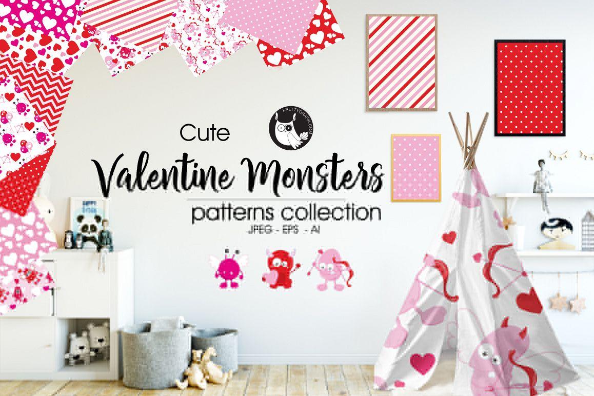 Valentine Monsters princedigital papers example image 1