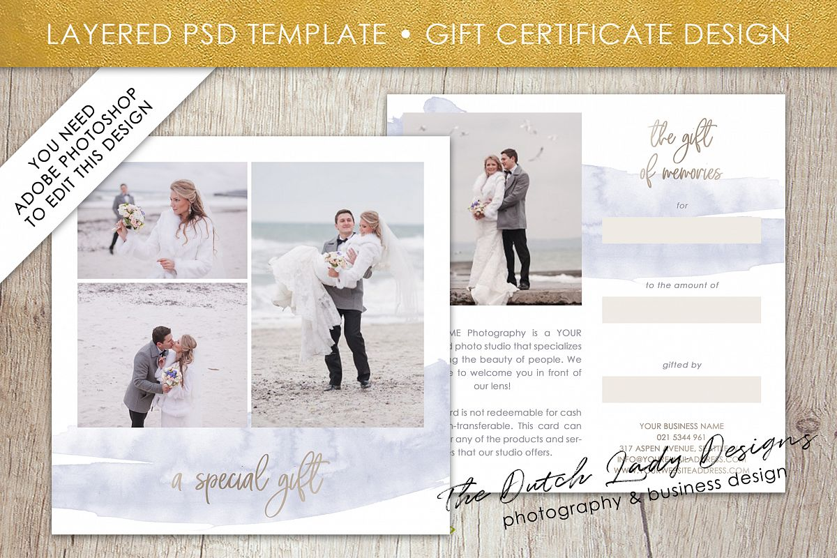 Photo Gift Card Template For Adobe Photoshop Layered Psd Template
