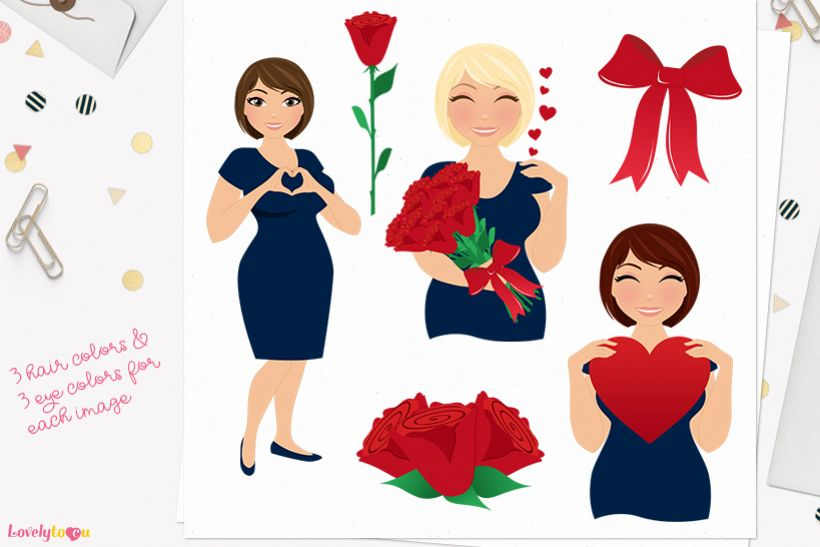Valentine woman character clip art L369 Olivia example image 1