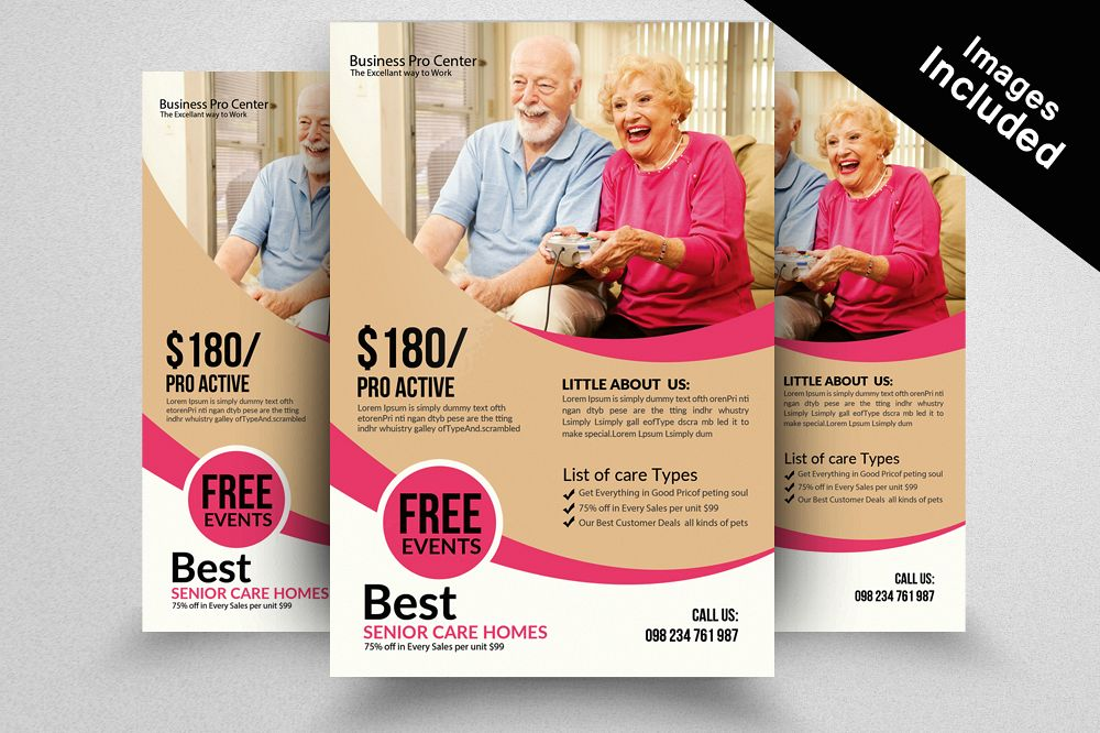 Old Care Homes Flyers Template