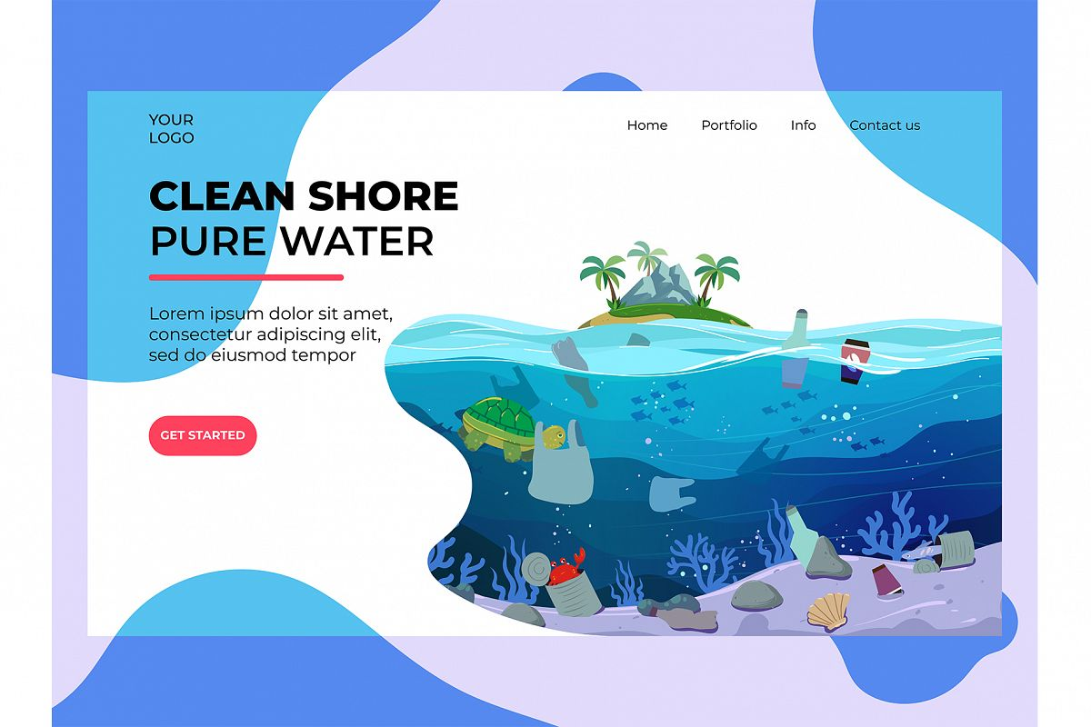 Water Plastic Pollution Landing Page example image 1
