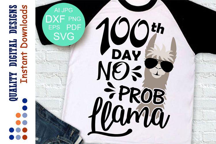 100th day no prob llama boy SVG example image 1