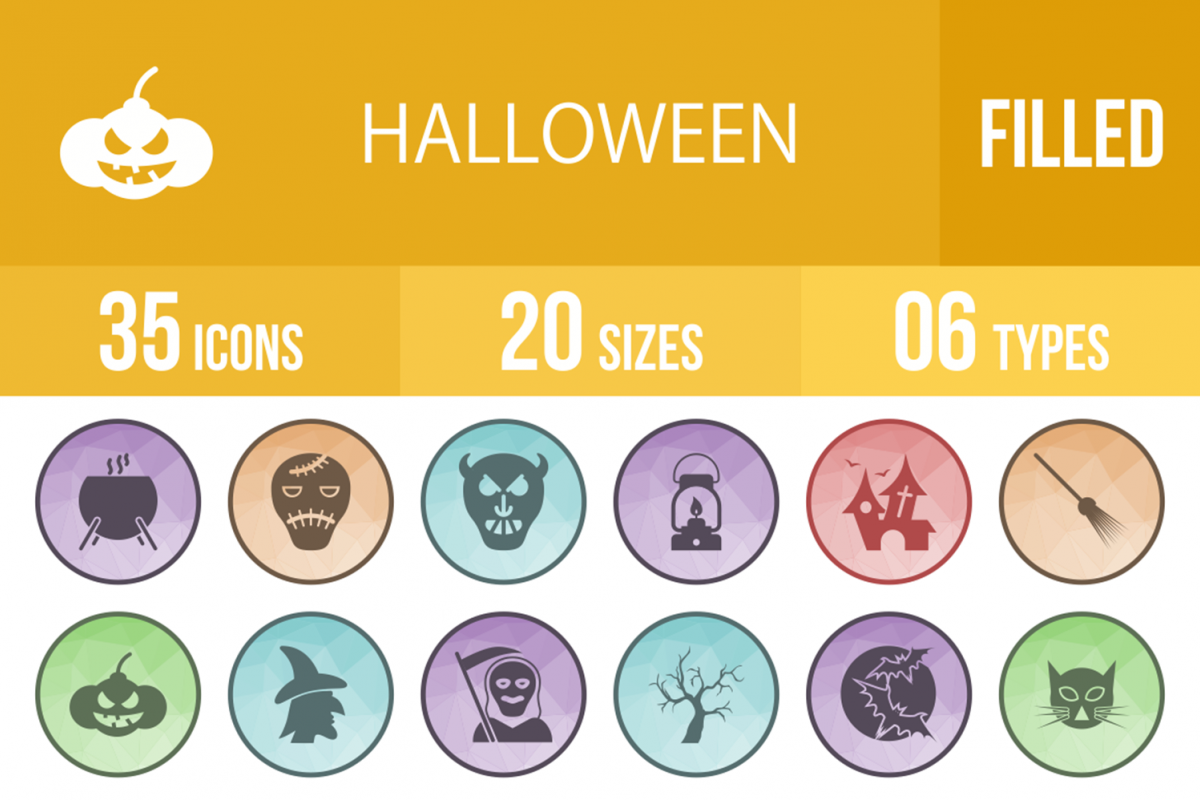 35 Halloween Filled Low Poly Icons example image 1
