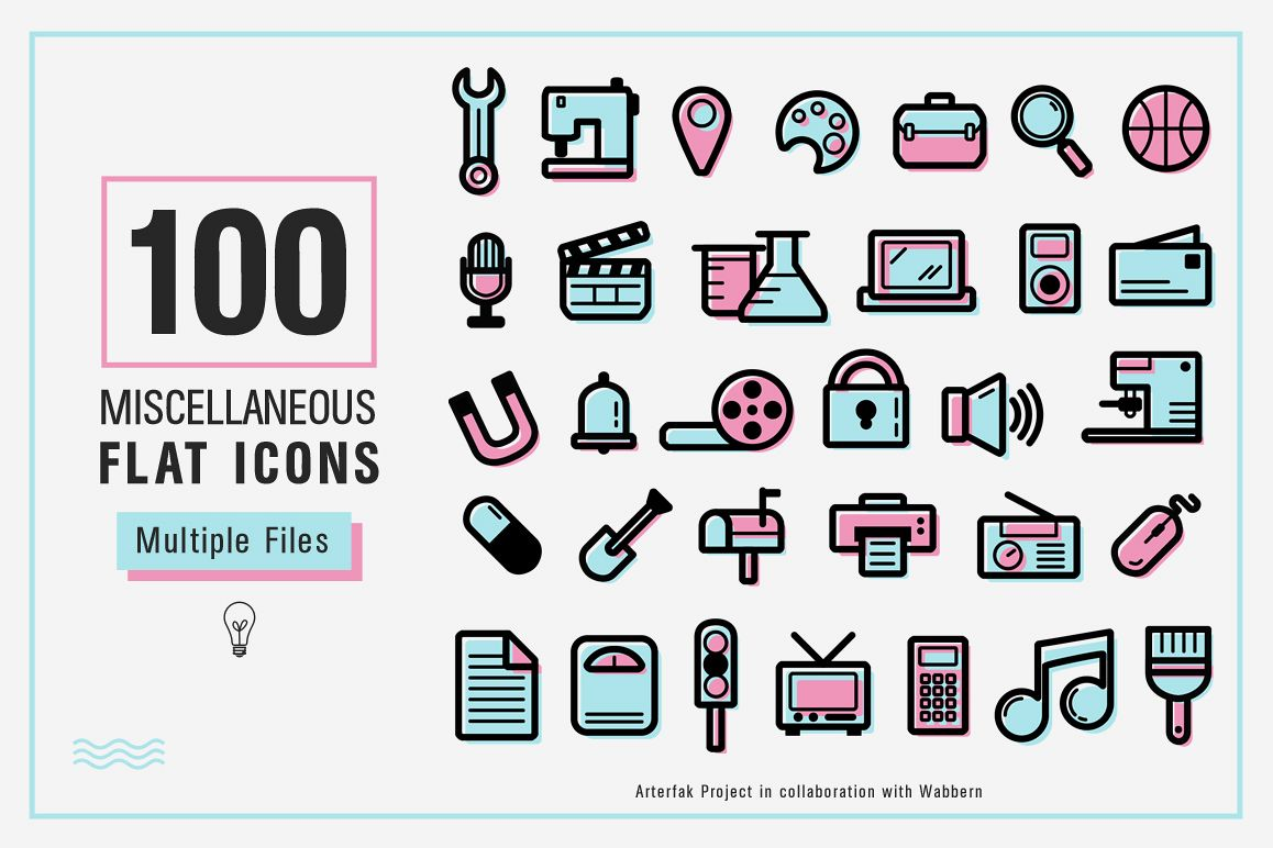 100 Miscellaneous Flat Icons example image 1