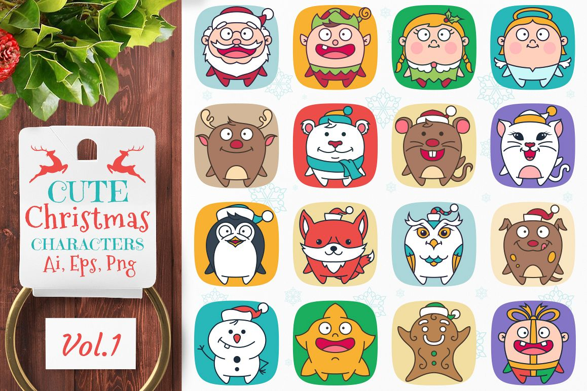 Cute Flat Christmas Characters Vol.1 example image 1