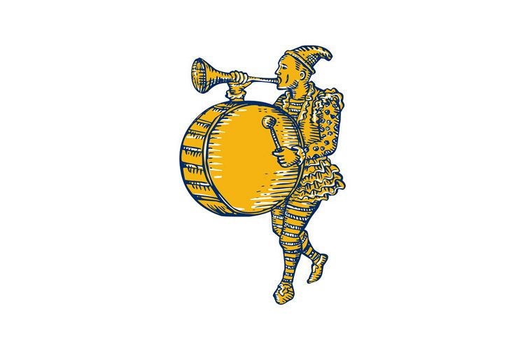 Clown With Trumpet and Drum Marching Etching example image 1