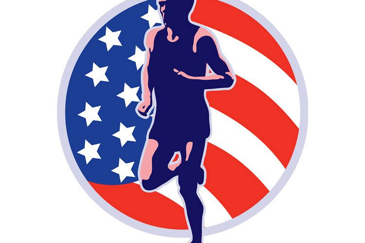 American marathon runner running retro example image 1