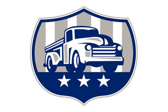 Vintage Pick Up Truck USA Flag Crest Retro example image 1