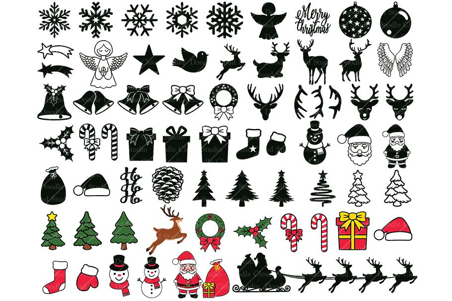 65 Christmas Ornaments Elements SVG, Christmas Clipart PNG. example image 1