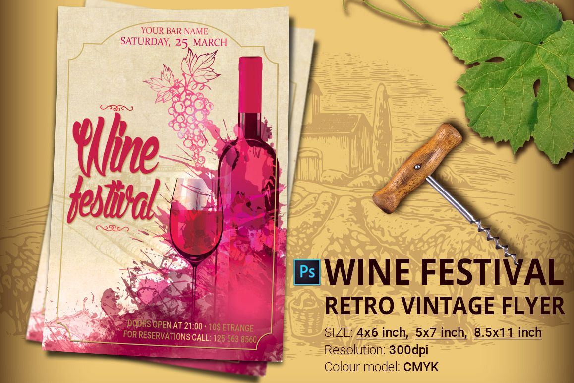 Wine Festival Flyer And Poster Example Image