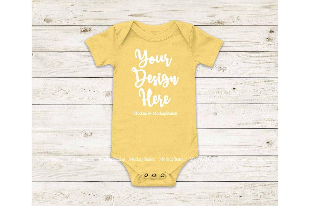 Baby Yellow Bodysuit Mockup, Blank Toddler One Piece Mockup example image 1
