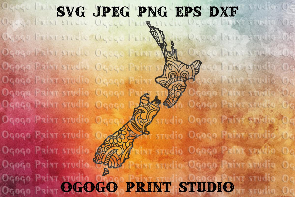 New Zealand SVG, Zentangle SVG, Home svg, Travel svg,Mandala example image 1