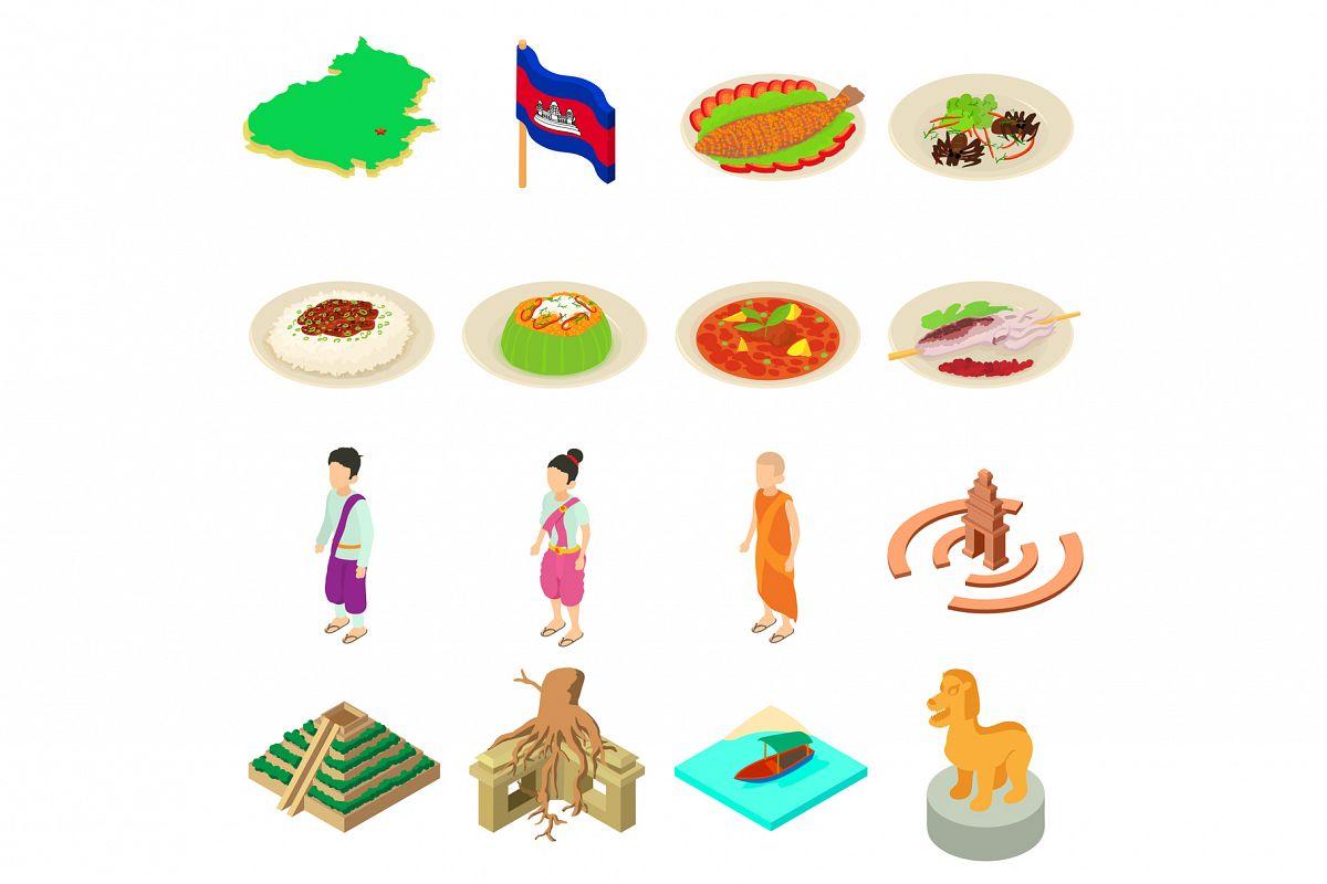 Cambodia travel icons set, isometric style example image 1