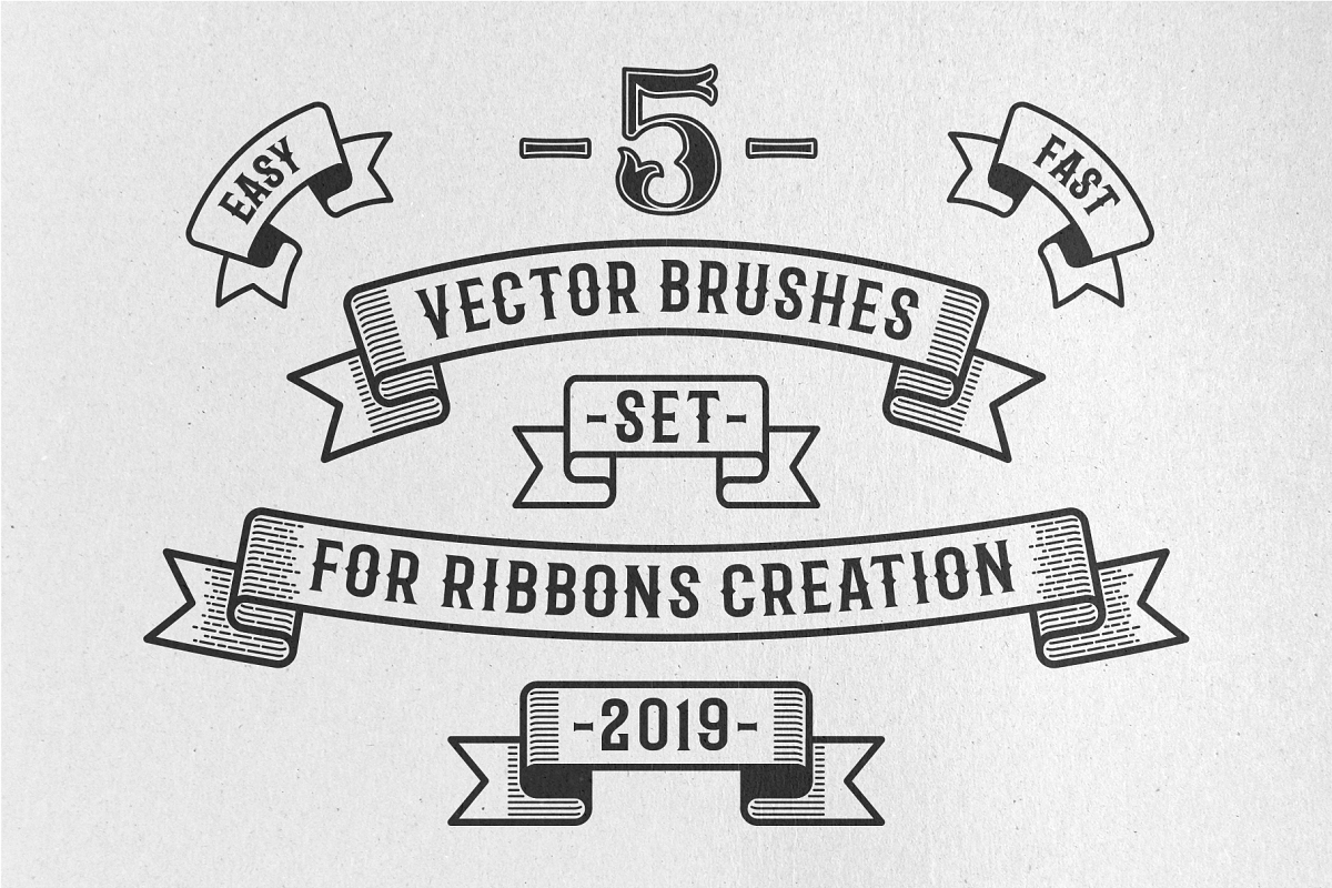 Vintage Ribbon Vector Brushes example image 1