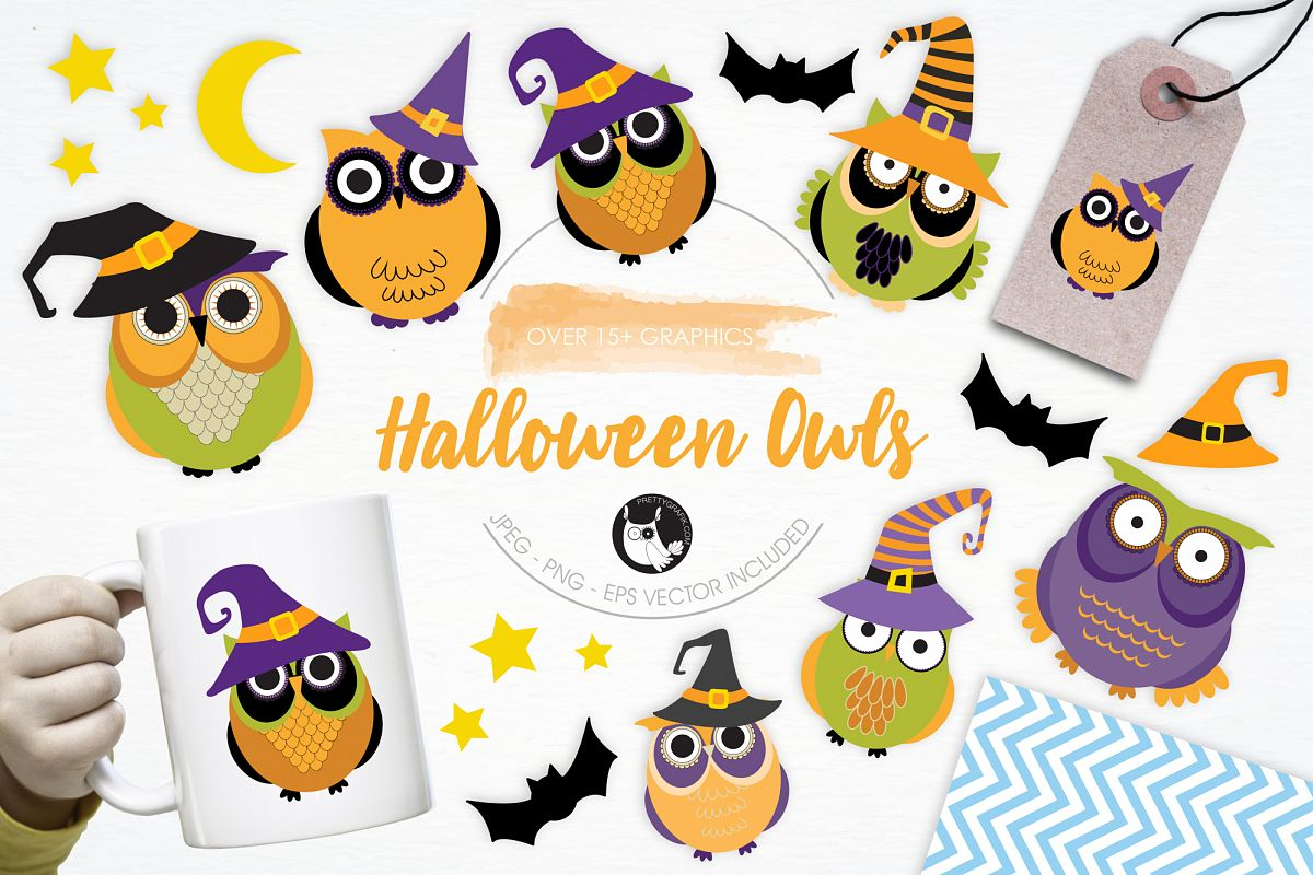 Halloween Owls graphics and illustrations example image 1