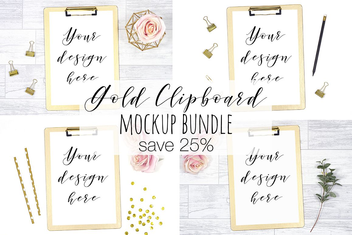 Gold Clipboard Mockup Photography Bundle example image 1