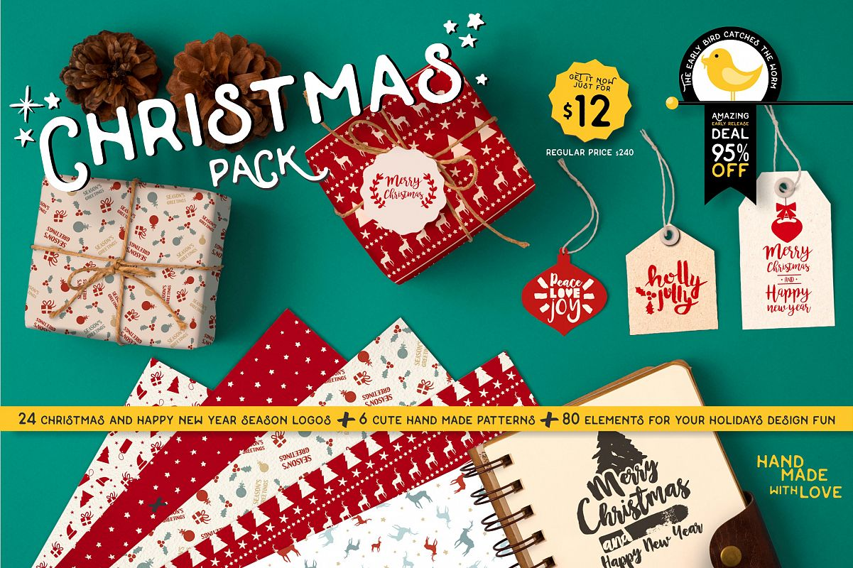 INTRO SALE 95% OFF! NEW Christmas quotes pack example image 1