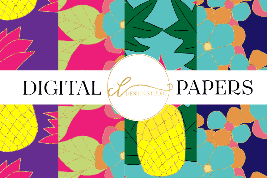 Tropical Funland Digital Papers example image 1