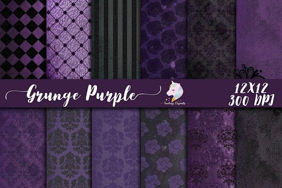 Grunge Purple Digital Paper example image 1