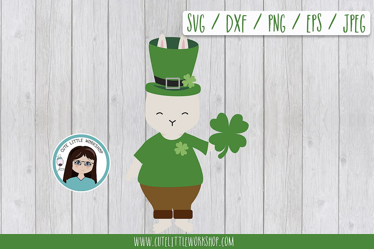 St. patricks's bunny SVG DXF PNG JPEG EPS example image 1