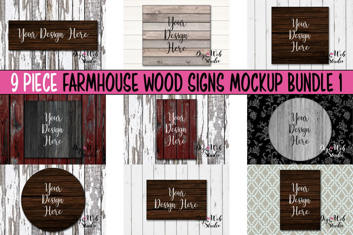Wood Signs Mockup Bundle - 9 Piece Farmhouse Wood Signs 1 example image 1