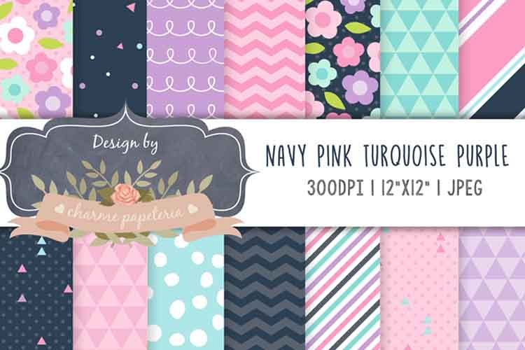 Navy and Pink digital papers, triangles, Flowers paper, example image 1