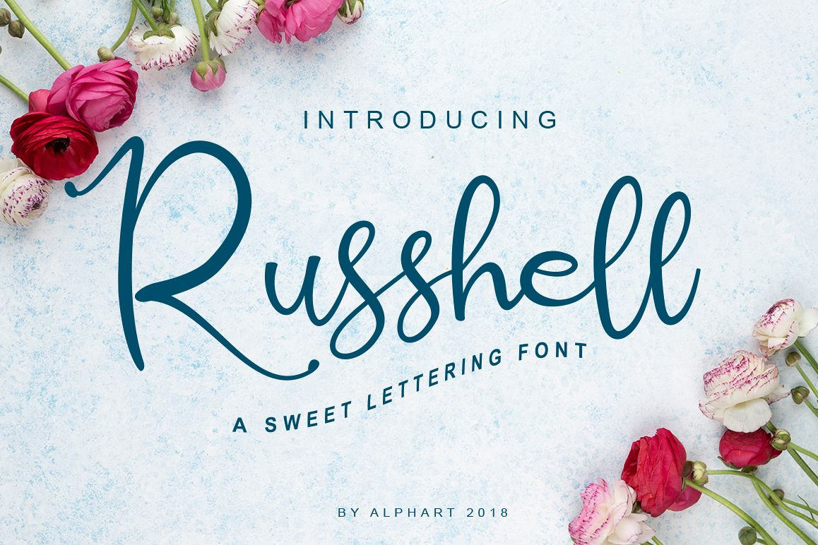 Russhell a sweet lettering font example image 1
