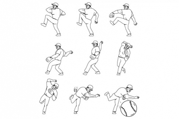 American Baseball Pitcher Throwing Ball Complete Set example image 1