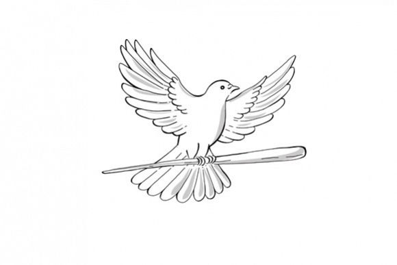 Pigeon or Dove Flying With Cane Drawing example image 1