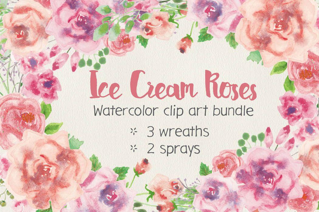 Watercolor clip art bundle: ice cream roses example image 1
