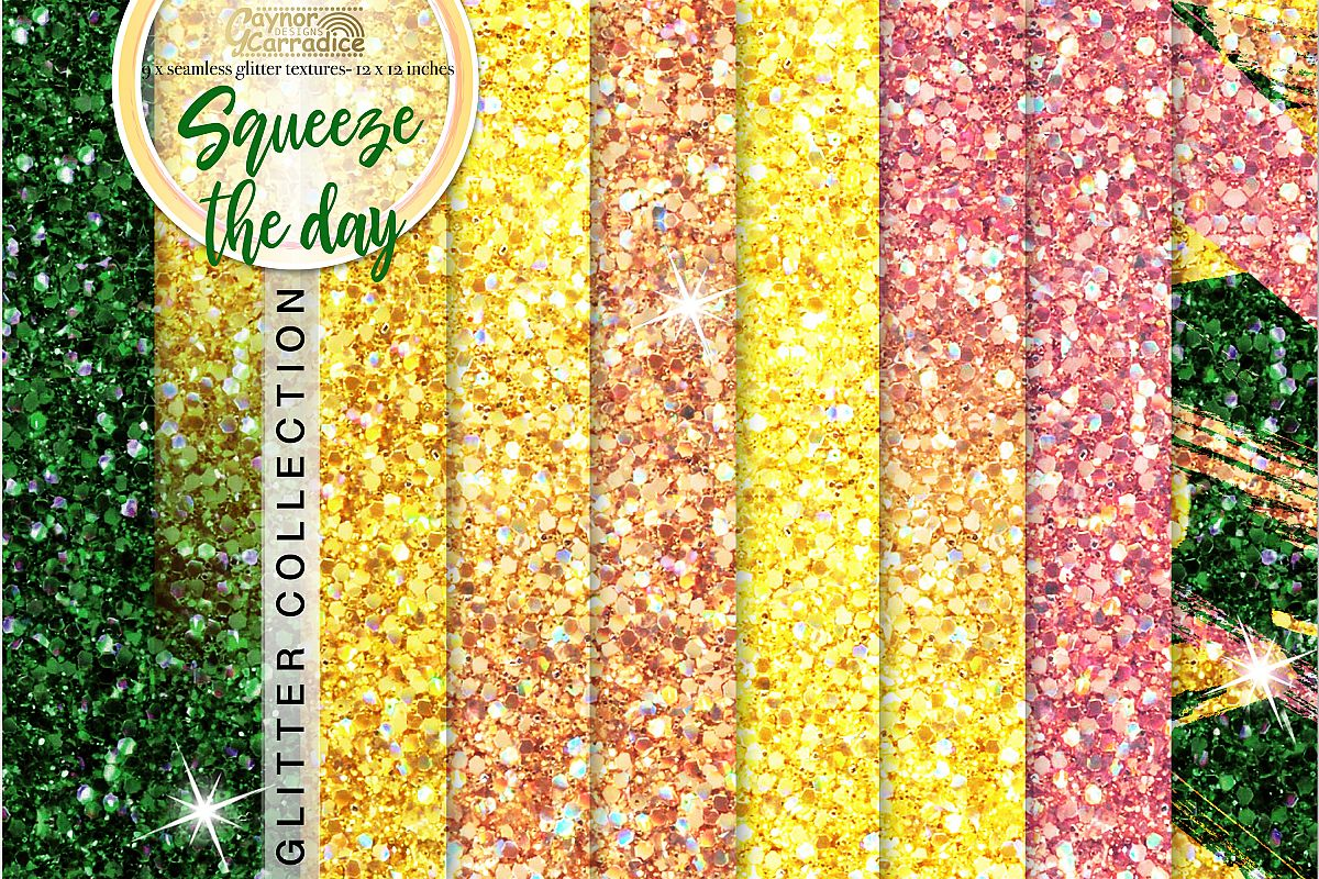 Lemon seamless Glitter backgrounds example image 1
