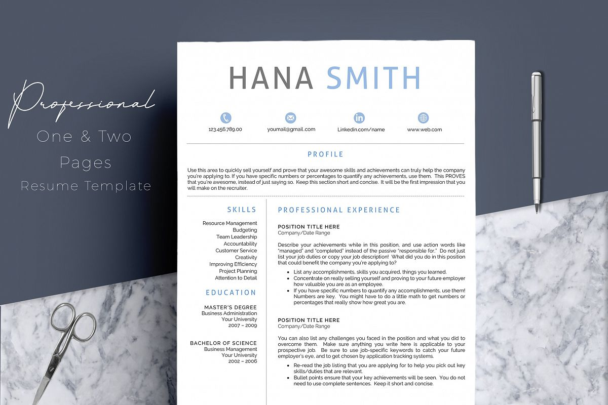Professional Design 4 Pages Resume Template  example image 1
