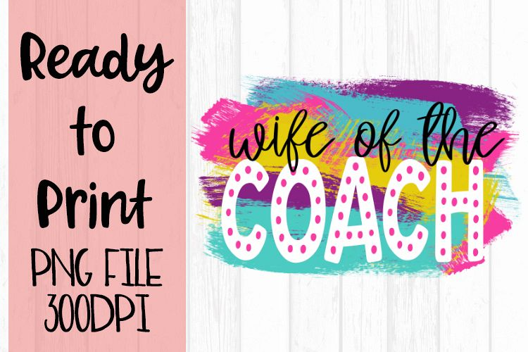 Wife of the Coach Bright Preppy Design Ready to Print example image 1